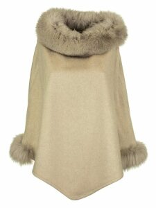 Max Mara Wskit Poncho In Cashmere And Fox Mink