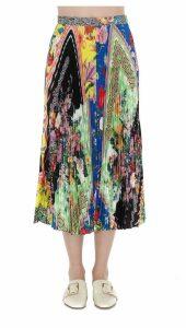 Versace Midi Skirt With Bloom Print