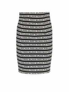 Balmain All Over Logo Cotton Blend Skirt
