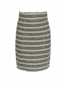 Balmain Striped Bicolour Linen Skirt Rf14288d020gay