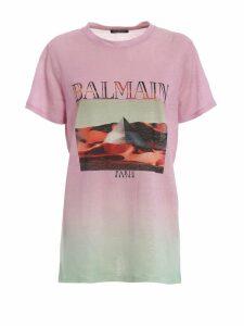 Balmain Faded Pink Linen T-shirt Rf01594i135qae