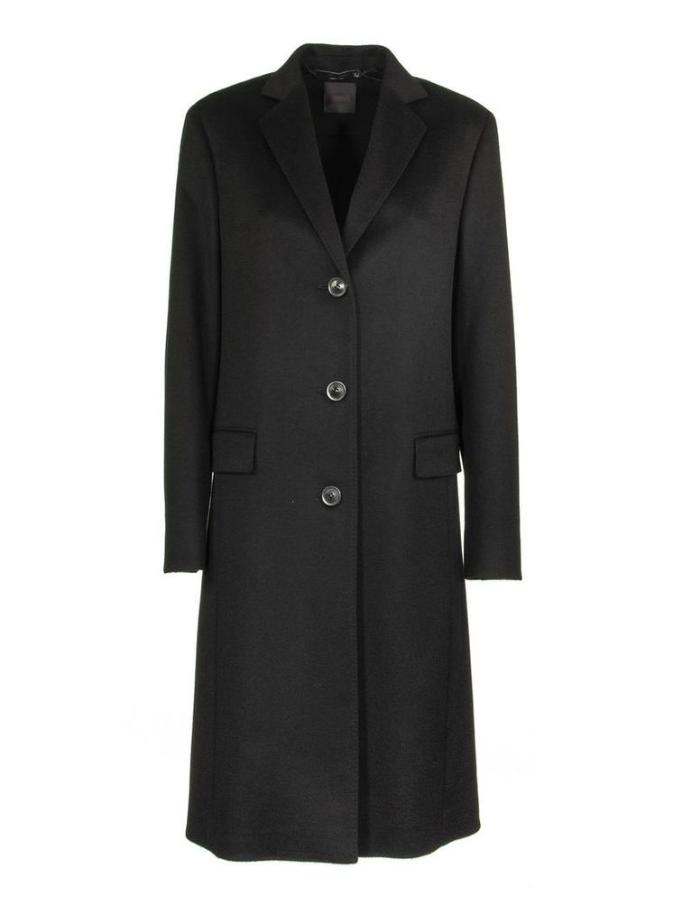Agnona Slim Cashmere Coat Black
