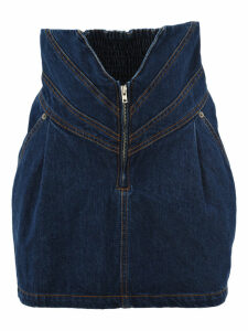 Attico High-waisted Denim Skirt