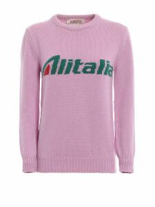 Alberta Ferretti Alitalia Logo Intarsia Pink Wool Sweater J098116131222