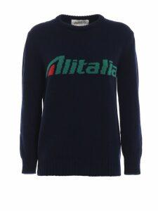 Alberta Ferretti Alitalia Logo Intarsia Wool Sweater J098116131290