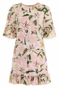 Dolce & Gabbana Lily Print Cady Mini Dress