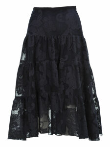 See By Chloe Floral Mesh Tiered Skirt