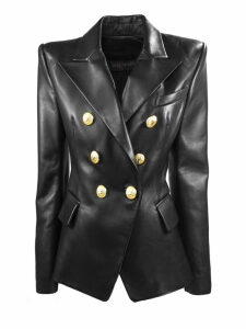 Balmain Black Leather Blazer