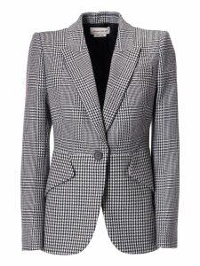 Alexander McQueen Houndstooth Pattern Blazer