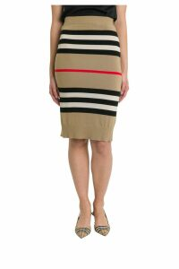 Burberry Kwando Icon Stripe Merino Wool Pencil Skirt