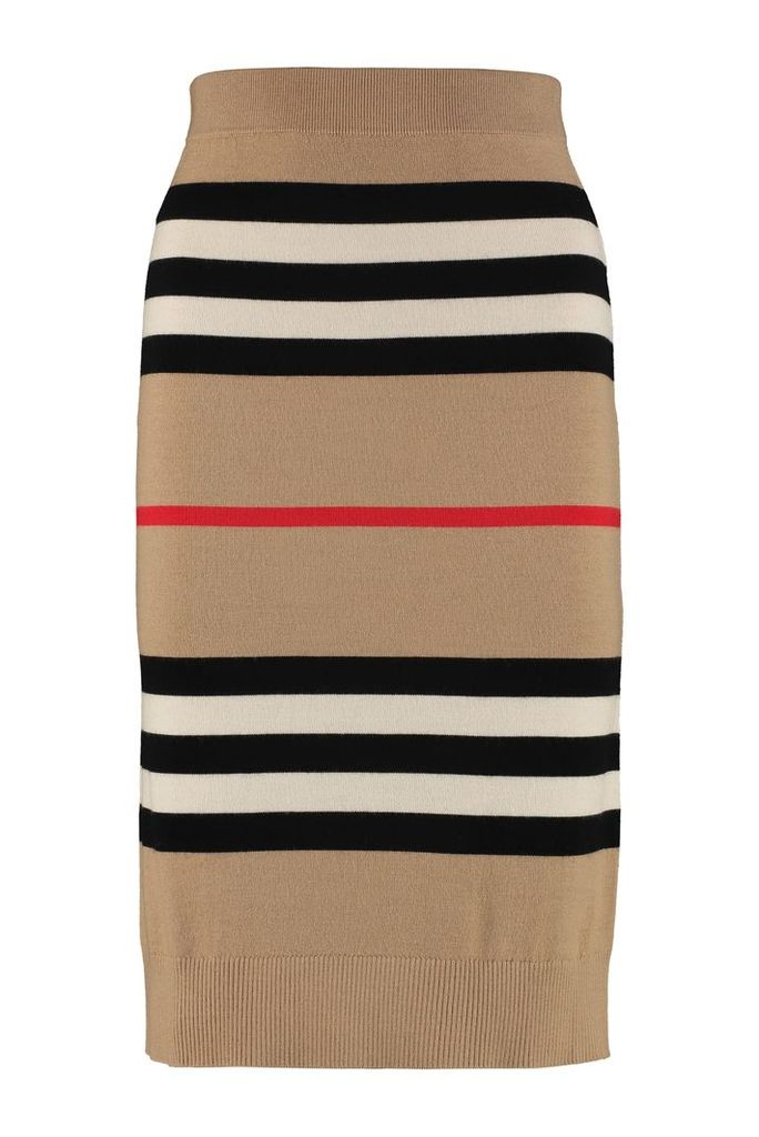 Burberry Striped Knit Pencil Skirt