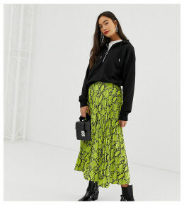 New Look pleated midi skirt in neon snake print