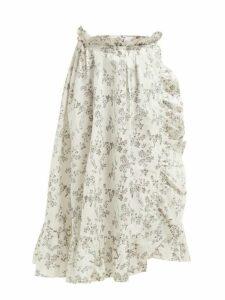 Thierry Colson - Tasha Floral Print Cotton Wrap Skirt - Womens - Black Multi
