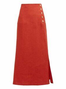 Belize - Elvira Buttoned Linen Midi Skirt - Womens - Red