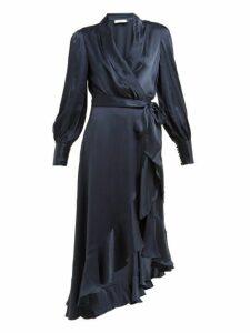 Zimmermann - Asymmetric Hem Silk Satin Wrap Dress - Womens - Navy
