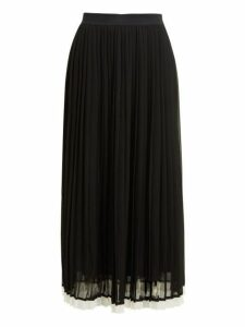 Zimmermann - High Rise Pleated Crepe Midi Skirt - Womens - Black