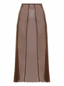 Albus Lumen - Aziza Raw Hem Silk Skirt - Womens - Brown