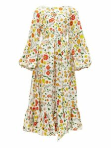 Wiggy Kit - Veranda Floral Print Silk Midi Dress - Womens - Multi