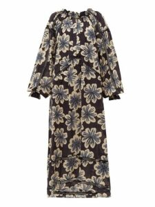 Dodo Bar Or - Myra Floral Print Cotton Dress - Womens - Black Print