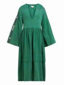 Zeus + Dione - Astypalaia Embroidered Cotton Midi Dress - Womens - Green