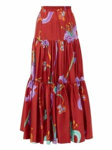 La Doublej - Big Skirt Maneater Rosso Print Silk Twill Skirt - Womens - Burgundy Multi