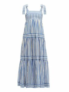 Zimmermann - Verity Stripe & Tiered Cotton Dress - Womens - Blue White