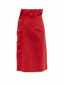 Adriana Degreas - Bacio Ruffled Linen Blend Midi Skirt - Womens - Red