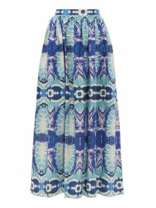 Le Sirenuse, Positano - Jane Printed Cotton Poplin Midi Skirt - Womens - Blue