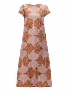 La Doublej - Swing Scallop Print Silk Dress - Womens - Pink Multi