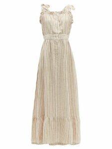 Wiggy Kit - Scallop Edged Striped Linen Dress - Womens - Pink Stripe