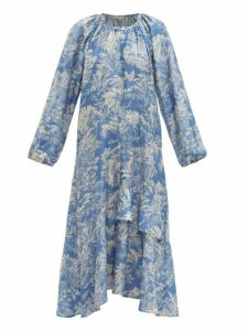 Belize - Harper Tropical Print Satin Midi Dress - Womens - Blue Print