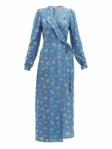 Belize - Salome Floral Print Charmeuse Wrap Dress - Womens - Blue Multi