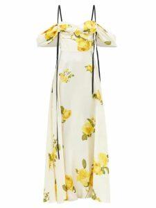 Gioia Bini - Camilla Ruffle Trimmed Linen Dress - Womens - Blue