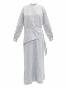 Belize - Anoush Striped Linen Blend Midi Shirtdress - Womens - Blue White