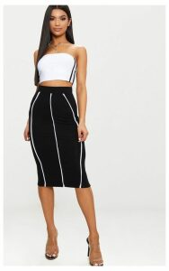 Black Jersey Binding Detail Midi Skirt, Black