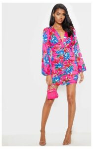 Bright Pink Floral Ruched Balloon Sleeve Bodycon Dress, Bright Pink