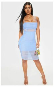 Baby Blue Strappy Mesh Insert Ruched Midi Dress, Blue