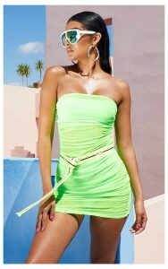 Neon Lime Ruched Mesh Dress, Neon Lime