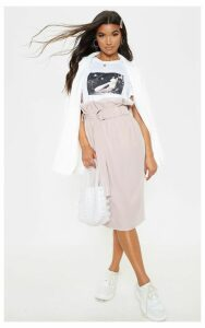 Dusty Pink Belted Paperbag Waist Midi Skirt, White