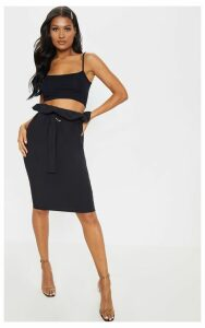 Black Belted Paperbag Waist Midi Skirt, Black