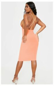 Neon Peach Strappy Slinky Cross Back Midi Dress, Neon Peach