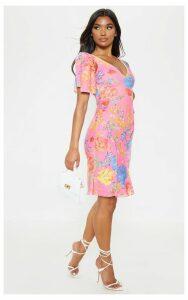 Pink Floral Print Pleat Detail Asymmetric Midi Dress, Pink