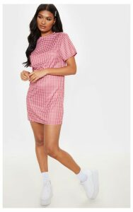 Red Gingham Print T Shirt Dress, Red