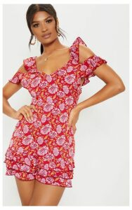Red Floral Printed Tie Back Shift Dress, Red