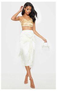 Cream Satin Fringe Trim Tie Wrap Midi Skirt, White