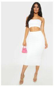 White High Stretch Midi Skirt, White
