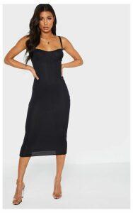 Black Cup Detail Rib Midi Dress, Black