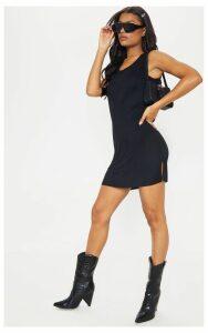 Black Sleeveless Raw Edge Split T Shirt Dress, Black