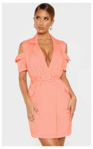 Coral Cold Shoulder Utility Blazer Dress, Orange