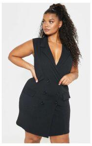 Plus Black Sleeveless Button Detail Blazer Dress, Black